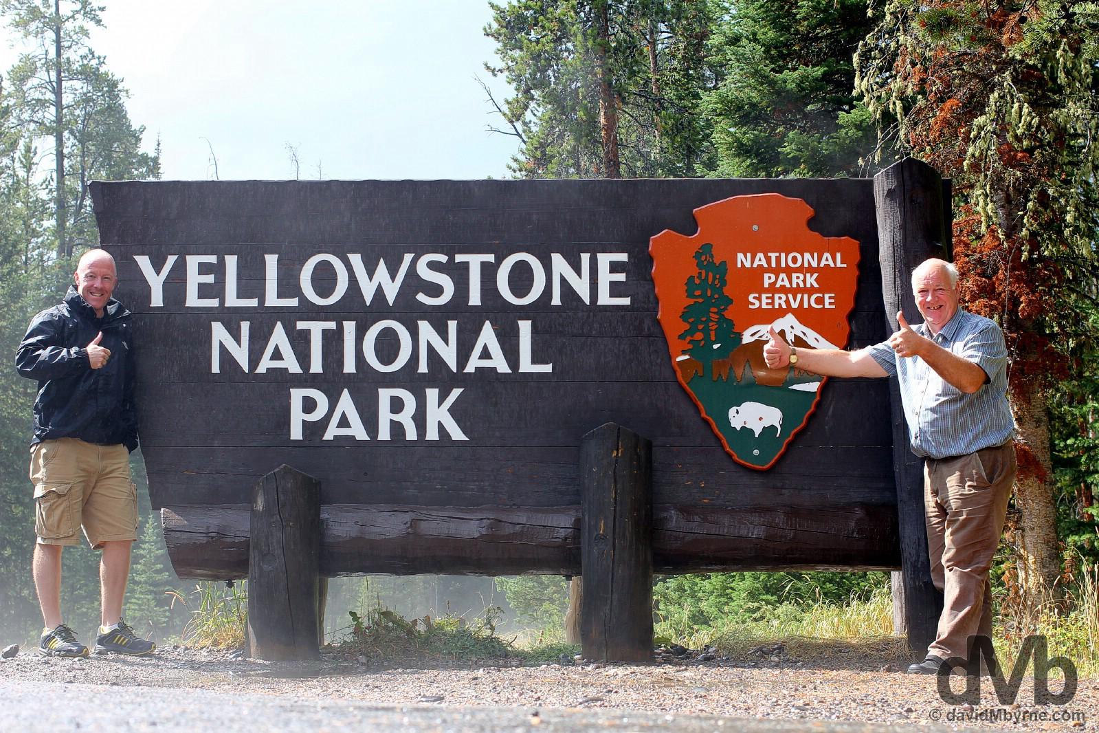 Entering Yellowstone National park, USA. September 4, 2016.