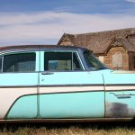 Abandoned - 1955 DeSoto & church. Montpelier, Idaho, USA. September 6, 2016.