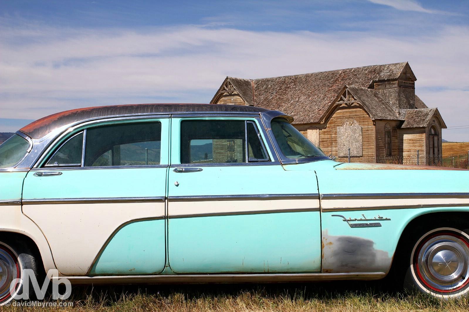 Abandoned - 1955 DeSoto & church. Montpelier, Idaho, USA. September 6, 2016.