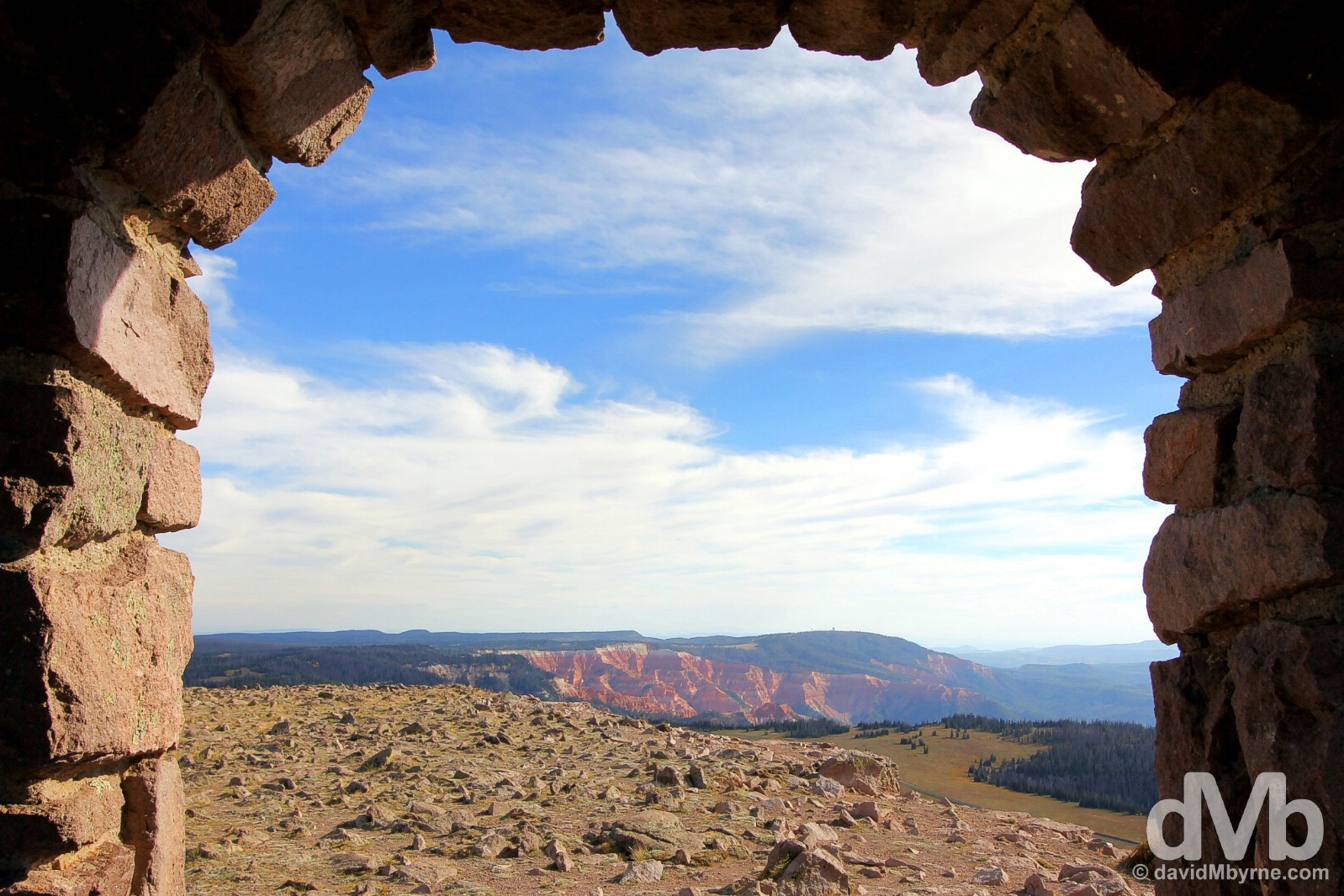 Cedar Breaks National Monument as seen from the summit of Brian Head off State Route 143, Utah's Patchwork Parkway, Iron County, southern Utah, USA. September 7, 2016.