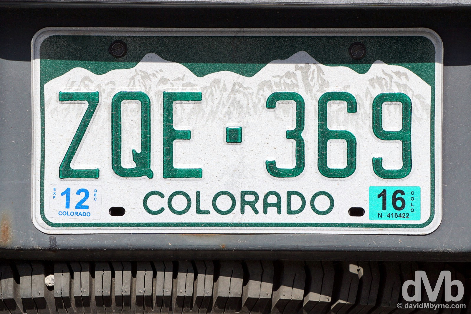 Colorado license plate. Durango, southern Colorado. September 12, 2016.