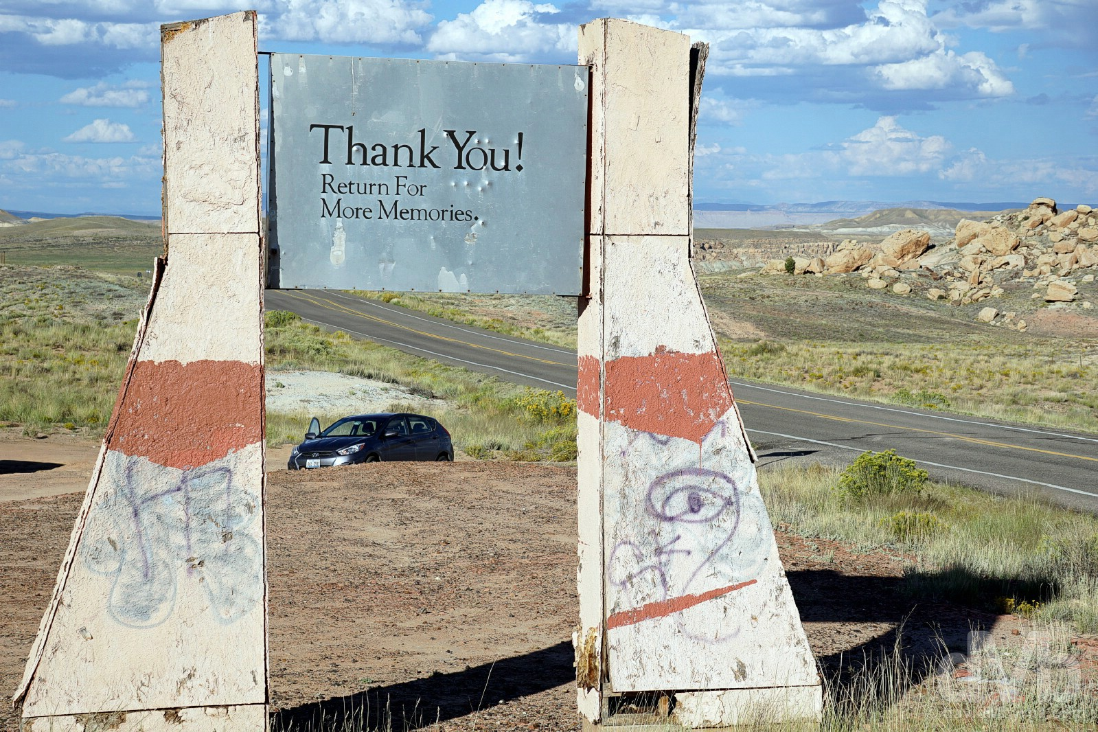 Leaving Navajo Nation. On the Arizona/New Mexico state line by US Route 160, USA. September 11, 2016.