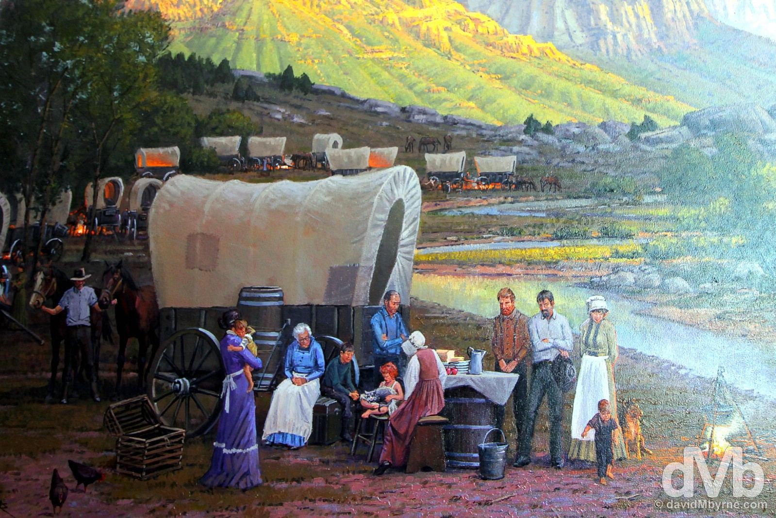 A Mormon wagon train painting in the Church of Jesus Christ of Later-Day Saints Conference Center, Salt Lake City, Utah, USA. September 7, 2016.