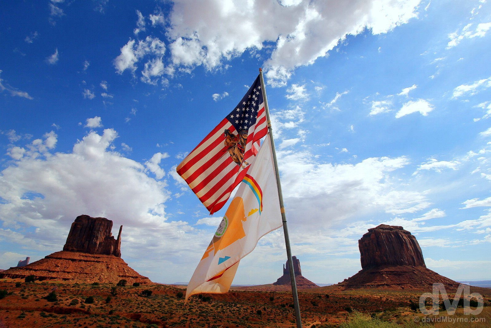 Native American flags in Monument Valley, Navajo Nation, southern Utah, USA. September 11, 2016.