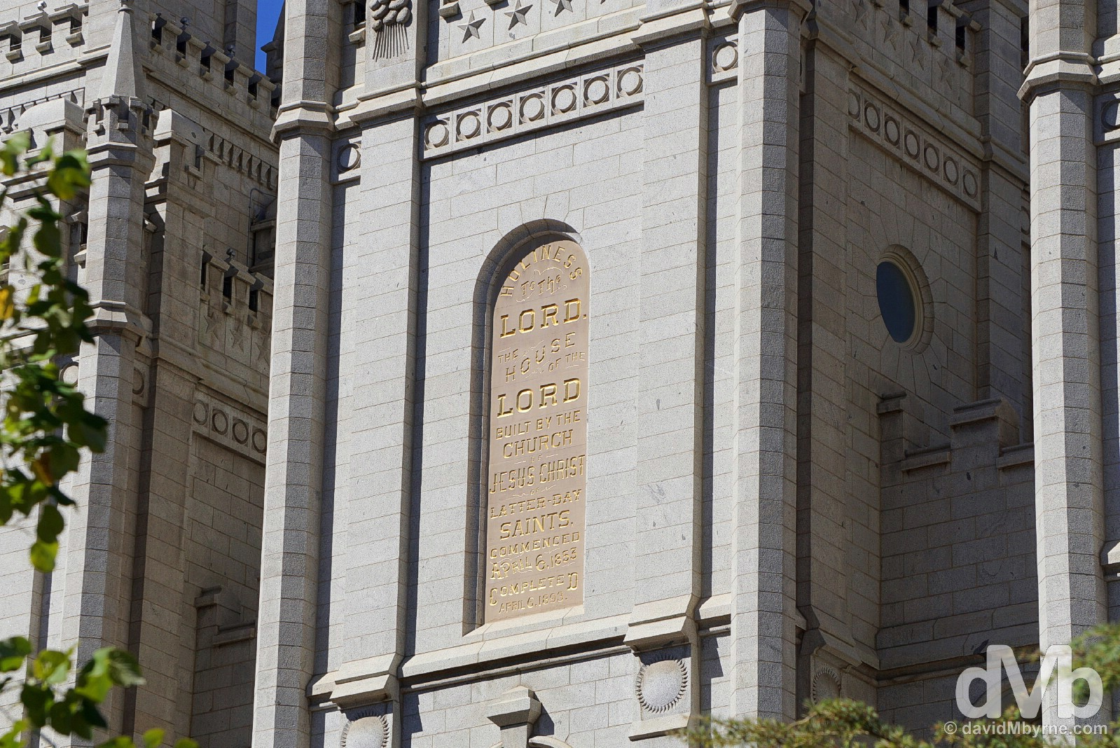 A portion of the facade of the Salt Lake Temple in Temple Square, Salt Lake City, Utah, USA. September 7, 2016.
