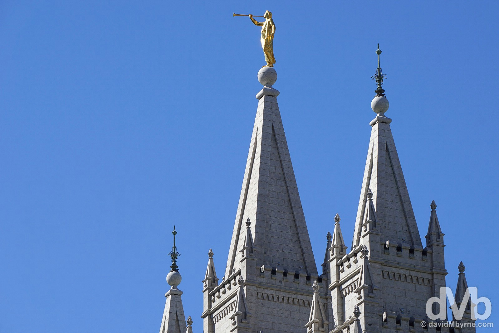 The Angel Moroni Statue atop the central spire of the Salt Lake Temple in Temple Square, Salt Lake City, Utah, USA. September 7, 2016.