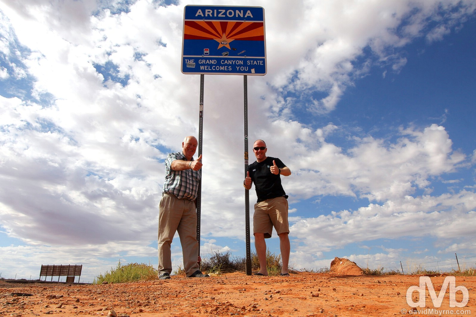At the Arizona-Utah state line on US Route 163, Monument Valley, USA. September 11, 2016.