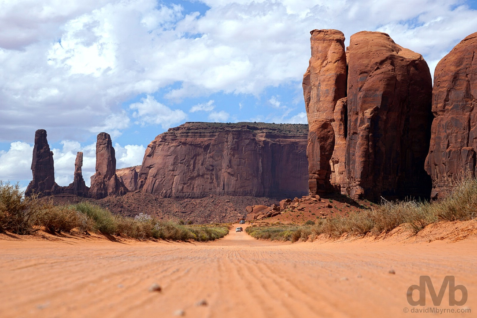 On the dusty Valley Drive in Monument Valley, Navajo Nation, southern Utah, USA. September 11, 2016.