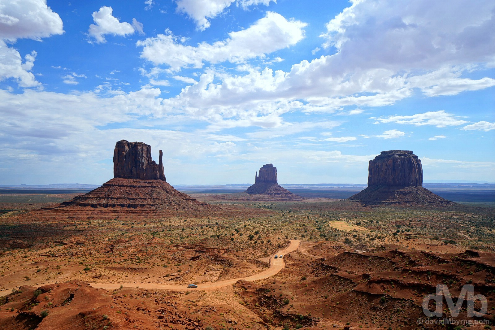 The West Mitten Butte, East Mitten Butte & Merrick Butte of Monument Valley, Navajo Nation, Arizona. September 11, 2016.