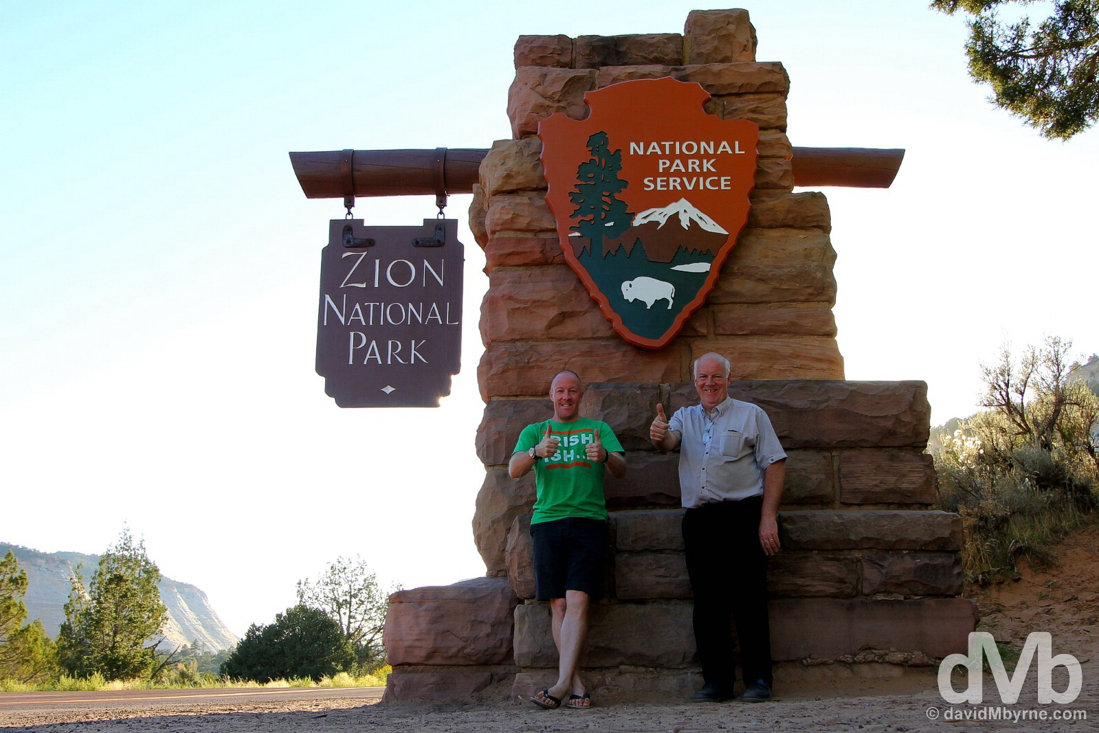 At the entrance to Zion National Park, southern Utah, USA. September 8, 2016.