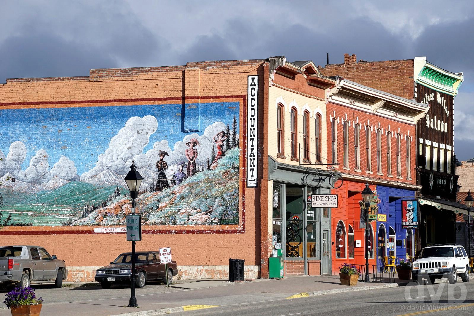 Harrison Avenue, Leadville, central Colorado, USA. September 13, 2016.