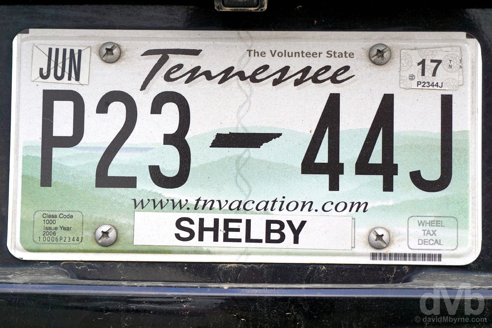 Tennessee plate. Memphis, Tennessee, USA. September 18, 2016.