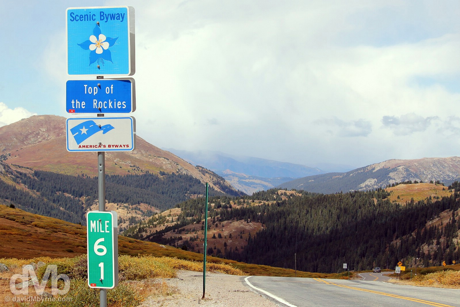 Top of The Rockies National Scenic Byway signage on Independence Pass, Colorado State Route 82, central Colorado, USA. September 13, 2016.