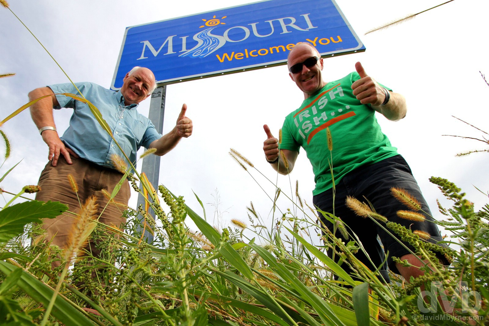 Welcome to Missouri. At the Iowa/Missouri state line, Interstate 29, USA. September 16, 2016.