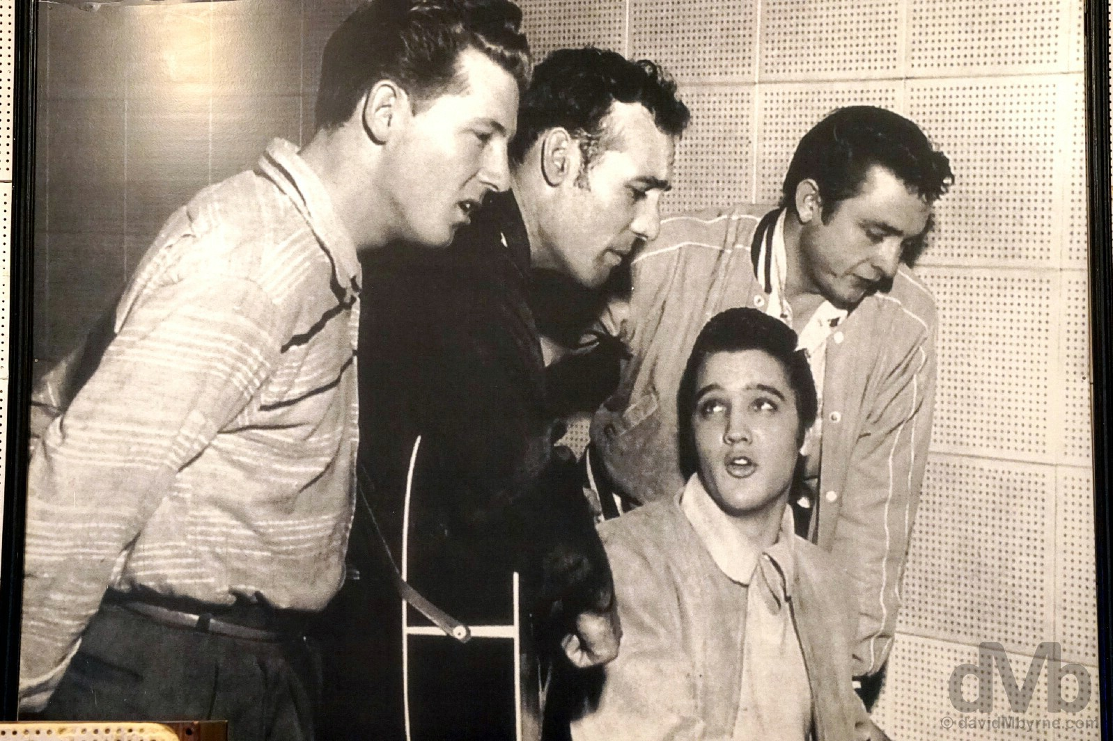 The Million Dollar Quartet in the recording studio of Sun Studios, Memphis, Tennessee, USA. September 19, 2016.