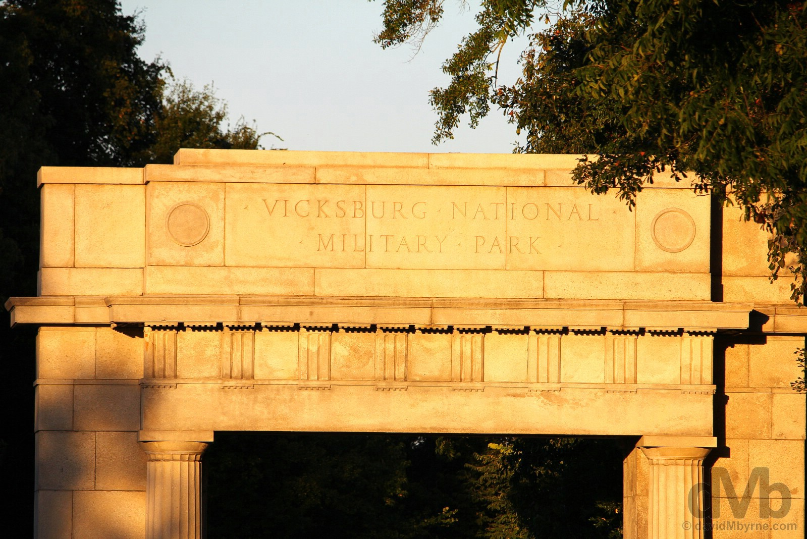 Sunset at the entrance to the Vicksburg National Military Park, Vicksburg, Mississippi, USA. September 19, 2016.