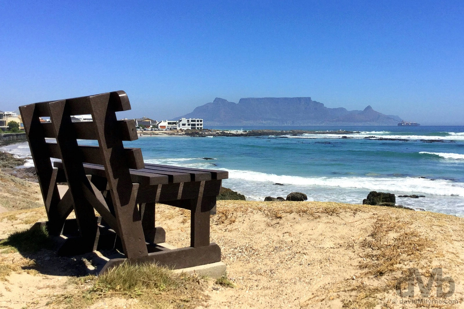 Cape Town & Table Mountain as seen from across Table Bay in Bloubergstrand. Western Cape, South Africa. February 15, 2017.