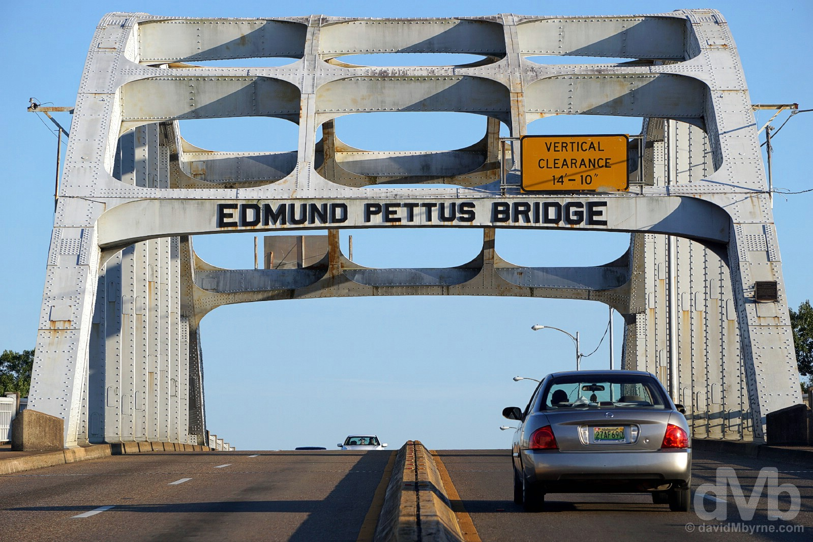 The Edmund Pettus Bridge spanning the Alabama River in Downtown Selma, Alabama, USA. September 20, 2016.