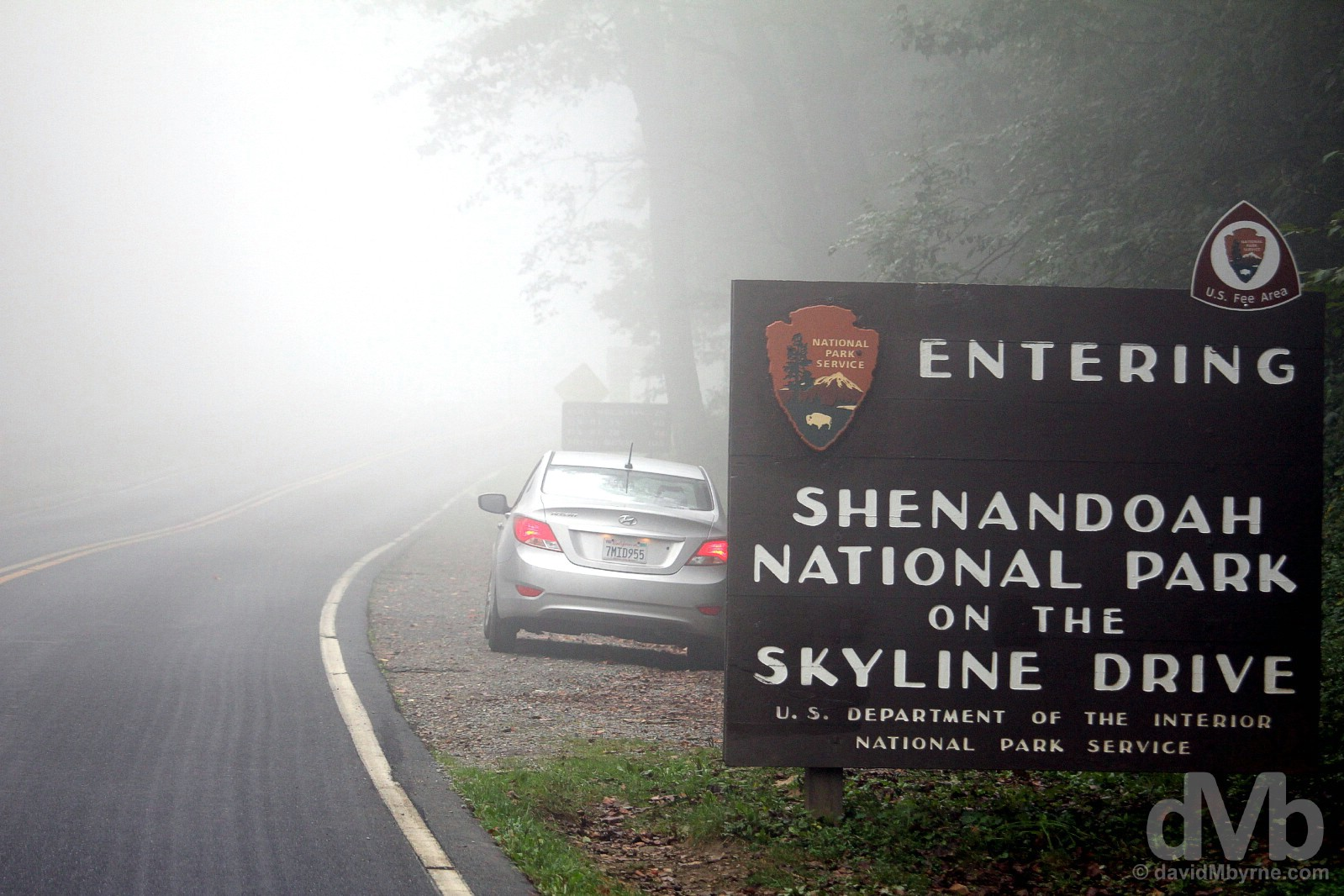 At the southern entrance to Shenandoah National Park in Virginia, USA. September 25, 2016.
