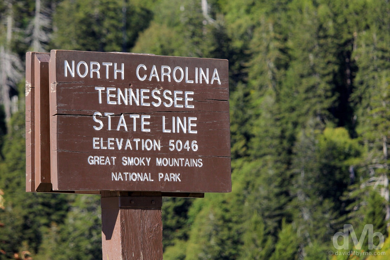 On the North Carolina-Tennessee state line atop Newfound Gap in Great Smoky Mountains National Park, USA. September 22, 2016.