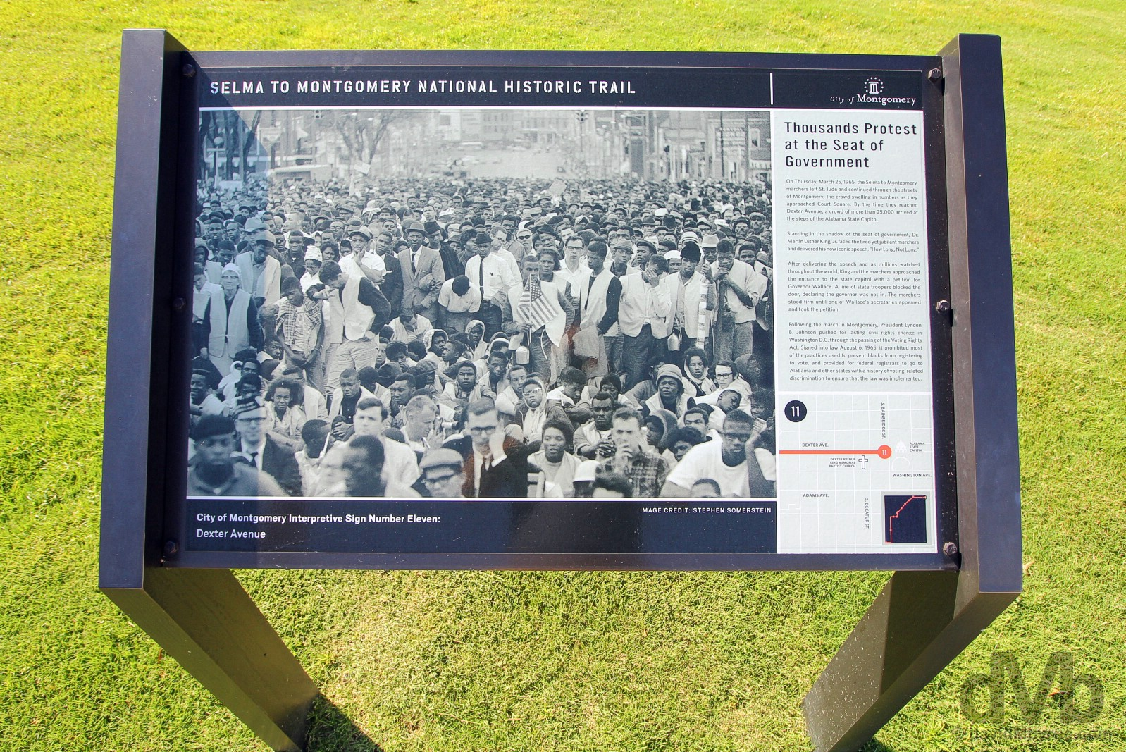 Selma To Montgomery National Historic Trail signage on Dexter Avenue in Downtown Montgomery, Alabama, USA. September 21, 2016.