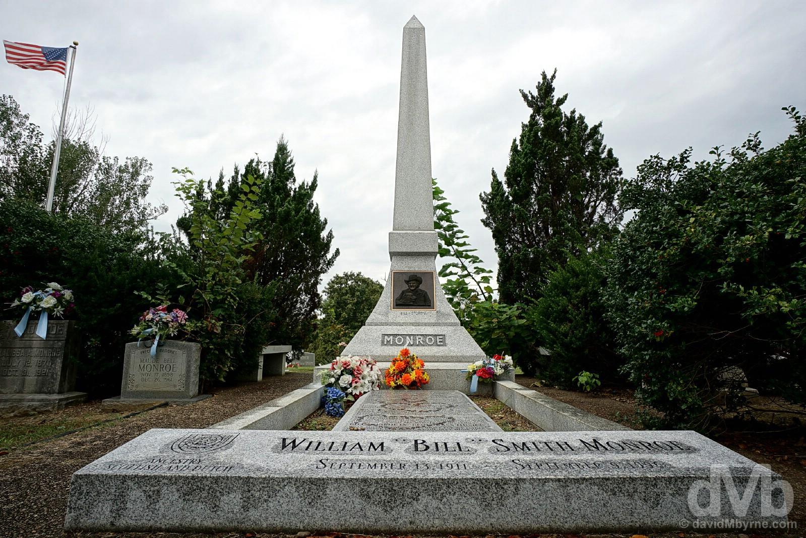 Bill Monroe's grave in the cemetery in Rosine, Ohio County, Kentucky, USA. September 28, 2016.
