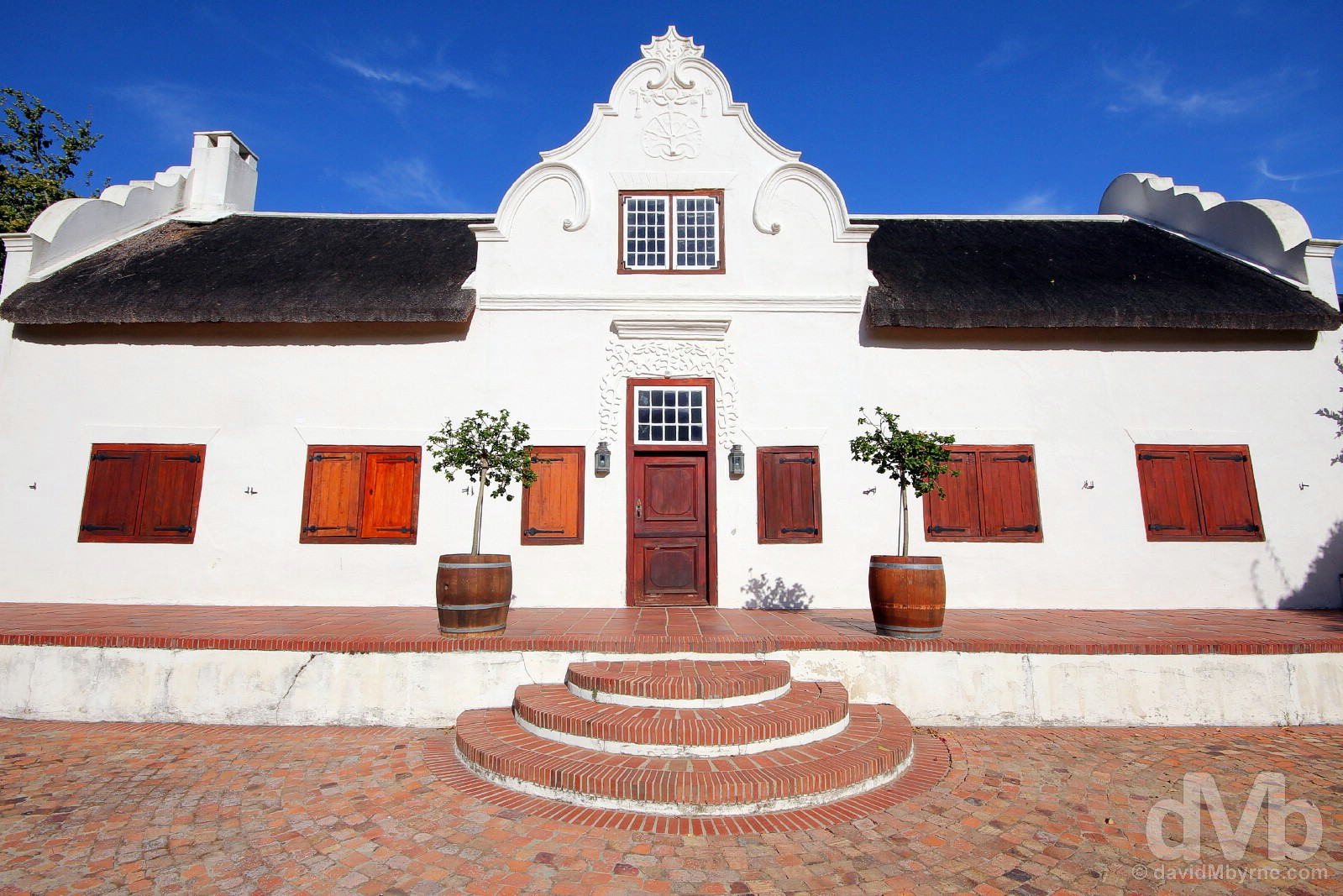 Cape Dutch architecture on the estate of the Blaauwklippen Vineyards, Stellenbosch, Western Cape, South Africa. February 18, 2017.