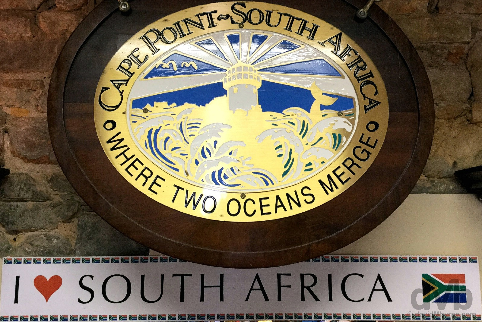 Cape Point. 'Where Two Oceans Merge'. In the gift shop at Cape Point, Cape Peninsula, Western Cape, South Africa. February 17, 2017.