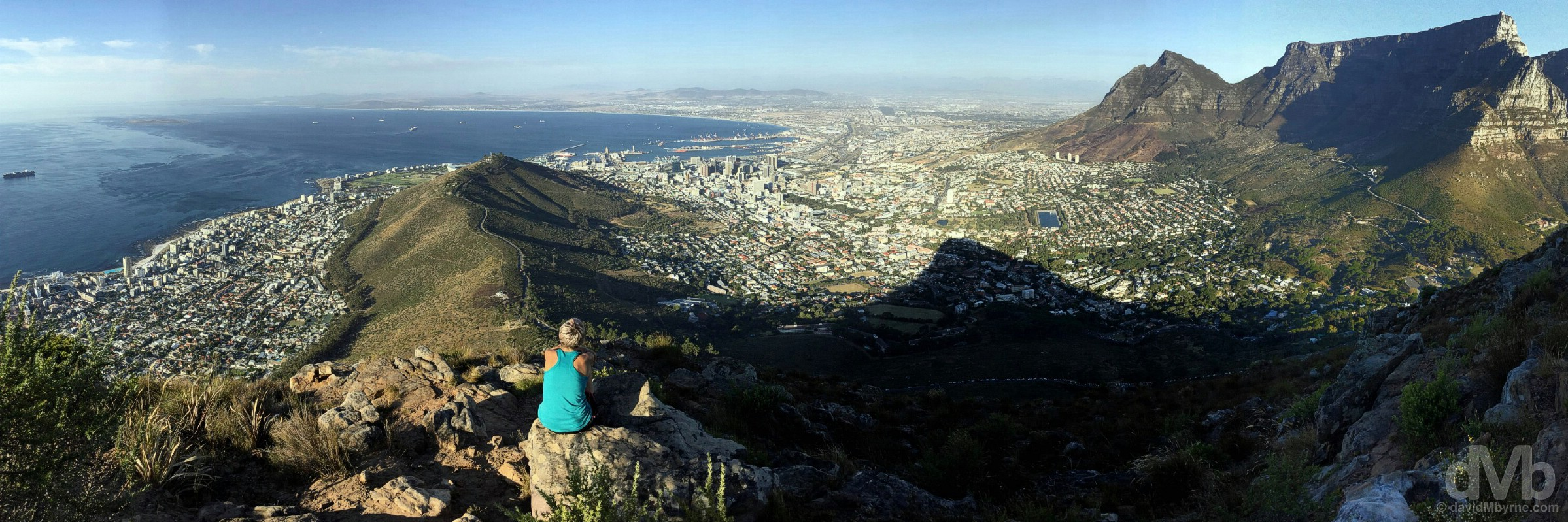 Enjoying the late afternoon view over Table Bay & Cape Town from atop Lion's Head, Western Cape, South Africa. February 22, 2017.