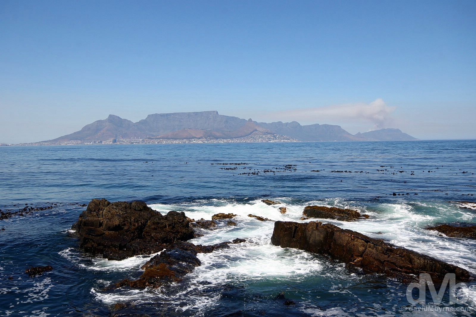 Cape Town & The Cape Peninsula as seen from the shores of Robben Island across Table Bay, Western Cape, South Africa. February 22, 2017.
