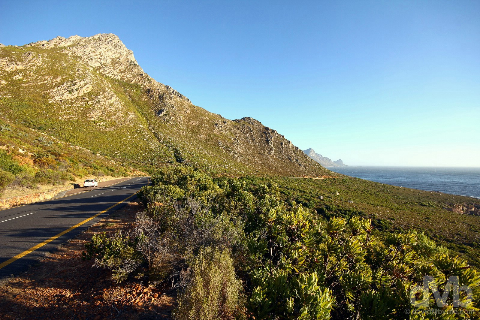 Road trip on Clarence Drive, the coastal-hugging R44 in eastern False Bay, Western Cape, South Africa. February 20, 2017.
