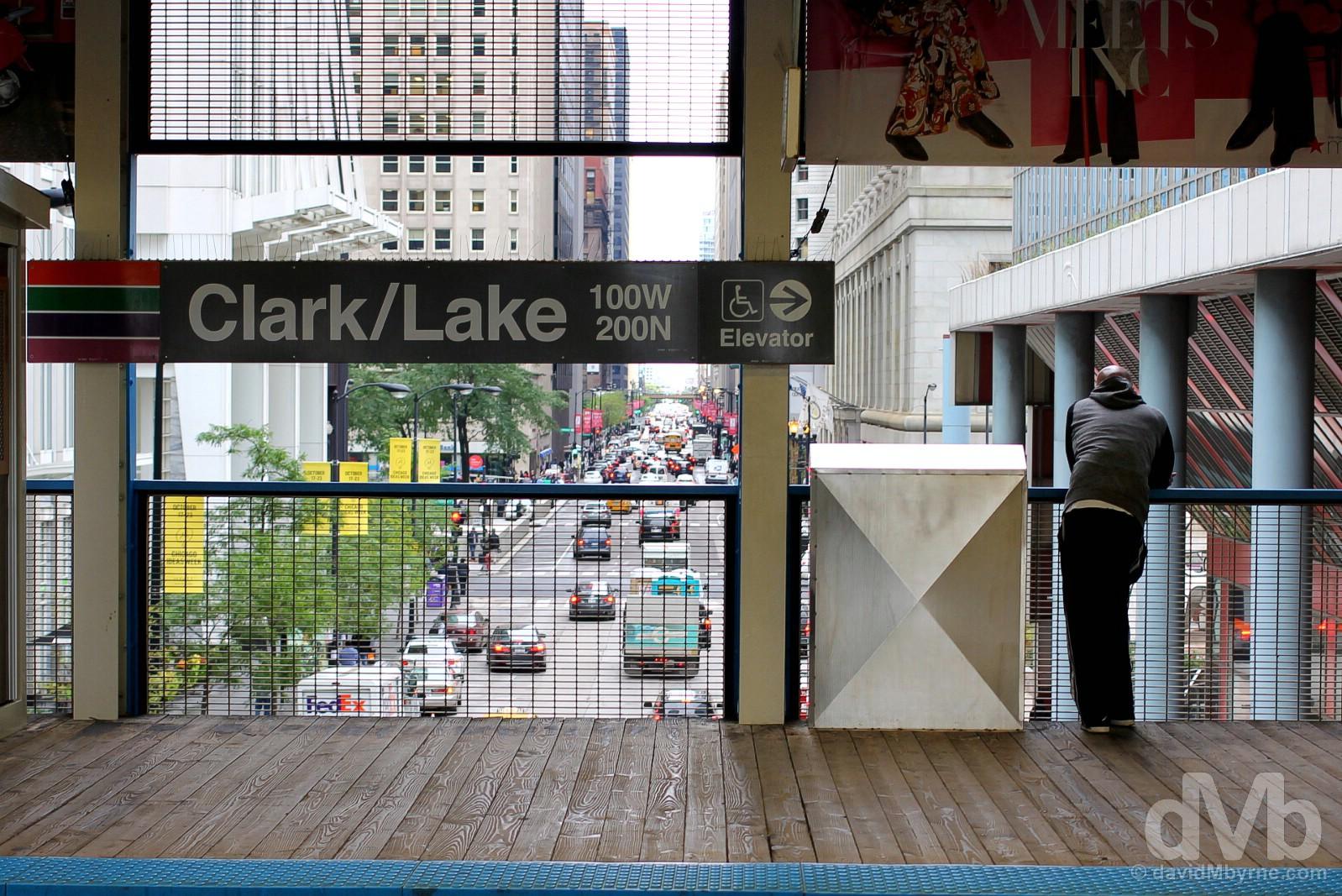 Clark/Lake CTA Station, Downtown, Chicago, Illinois, USA. September 30, 2016.