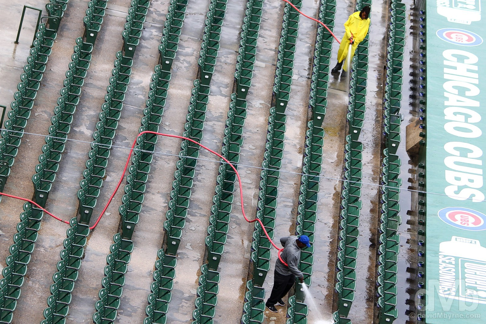 Maintenance in Wrigley Field, the home of the Chicago Cubs. Wrigleyville, Chicago, Illinois, USA. October 1, 2016.