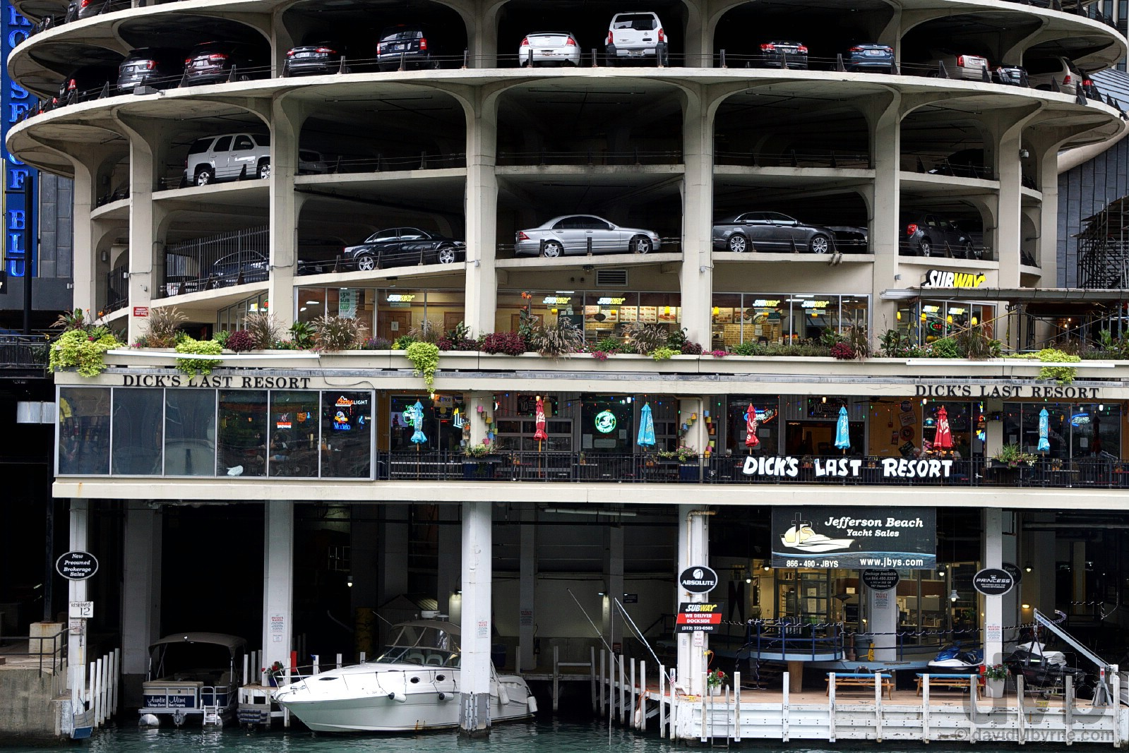 Dick's Last Resort of Marina City on the Chicago River in downtown Chicago, Illinois, USA. October 2, 2016.