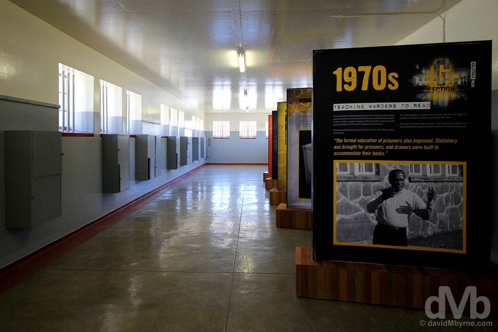 Displays in one of the wings of the prison on Robben Island, Table Bay, Western Cape, South Africa. February 22, 2017.