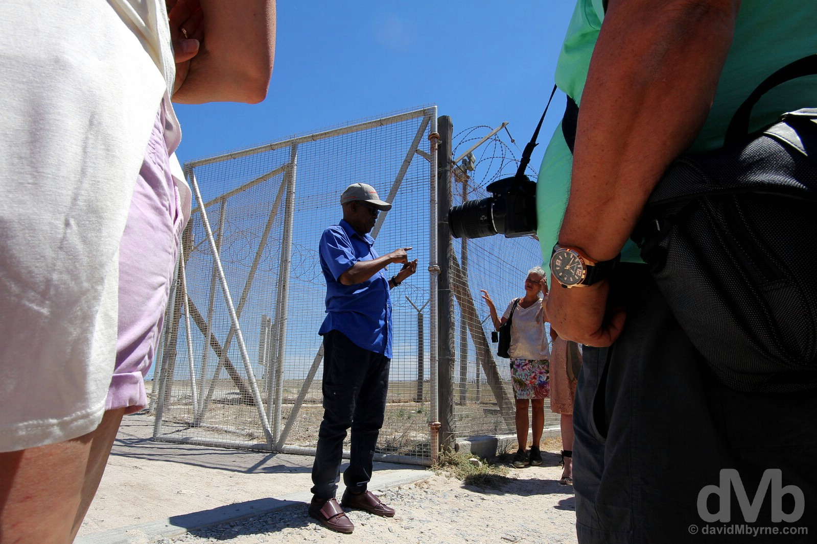 A briefing by an ex-prisoner turned guide at the entrance to the prison on Robben Island, Table Bay, Western Cape, South Africa. February 22, 2017.