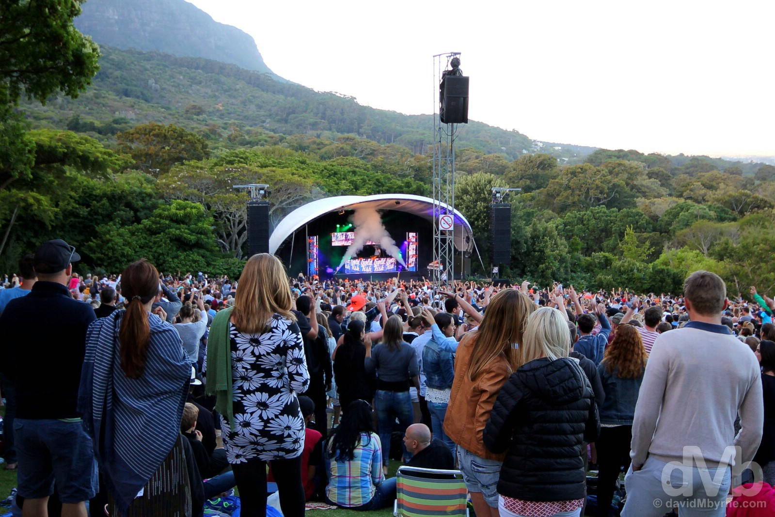 Homegrown electronica and dance group Goldfish performing as part of the Kirstenbosch Summer Sunset Concerts in Kirstenbosch National Botanical Garden on the slopes of Table Mountain, Cape Town, Western Cape, South Africa. February 19, 2017.