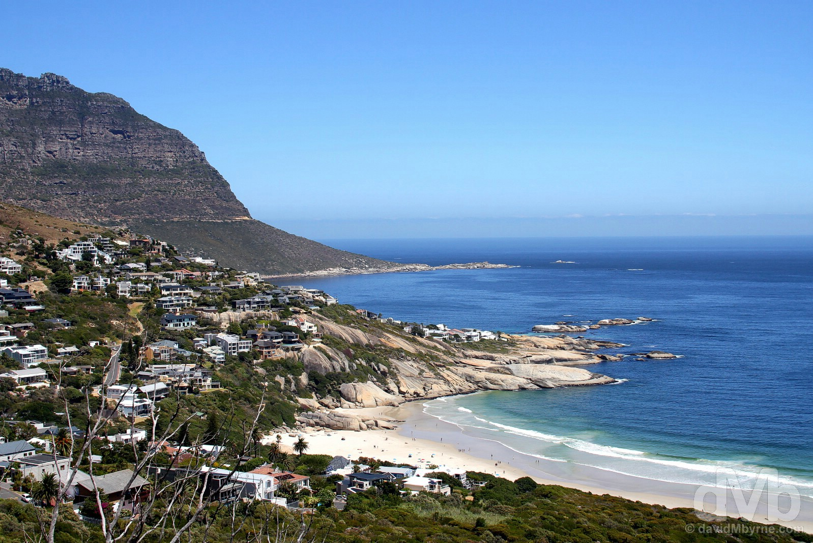 Llandudno from the coastal Victoria Road, Cape Peninsula, Western Cape, South Africa. February 17, 2017.