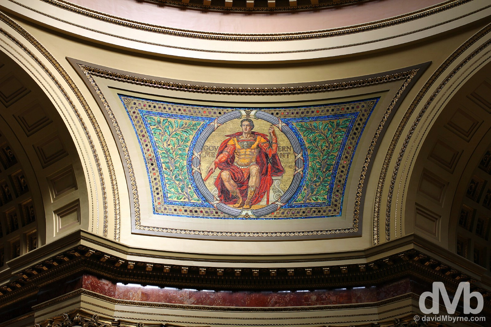 A mosaic of the Wisconsin State Capitol Building in Madison, Wisconsin, USA. August 29, 2016.
