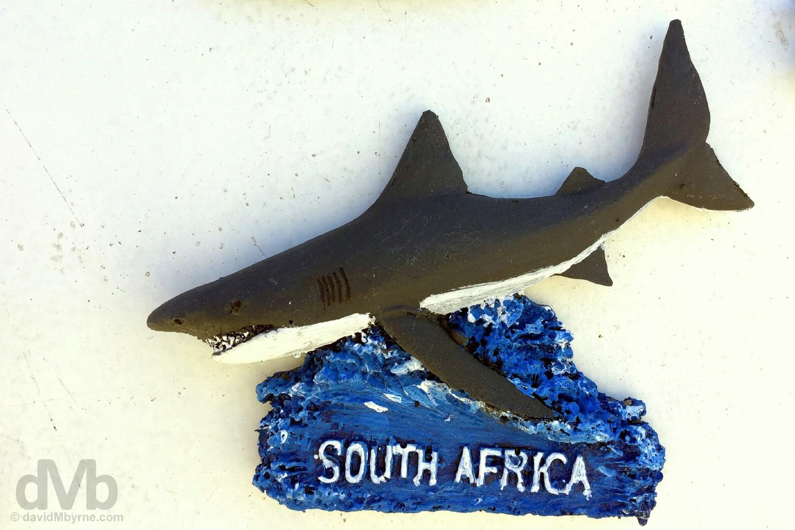 A handmade fridge magnet for sale in Kleinbaai, Overberg, Western Cape, South Africa. Febraury 21, 2017.