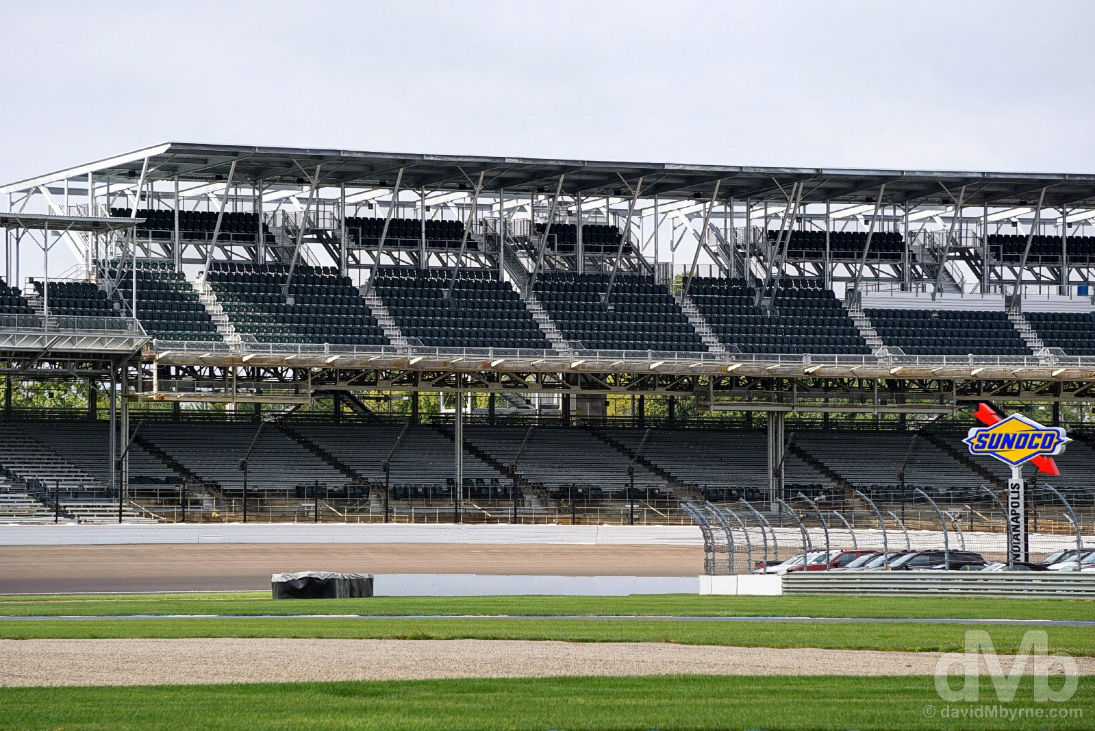 A portion of the 2.5-mile-long track and grandstands lining the Indianapolis Motor Speedway in Indianapolis, Indiana, USA. September 29, 2016.