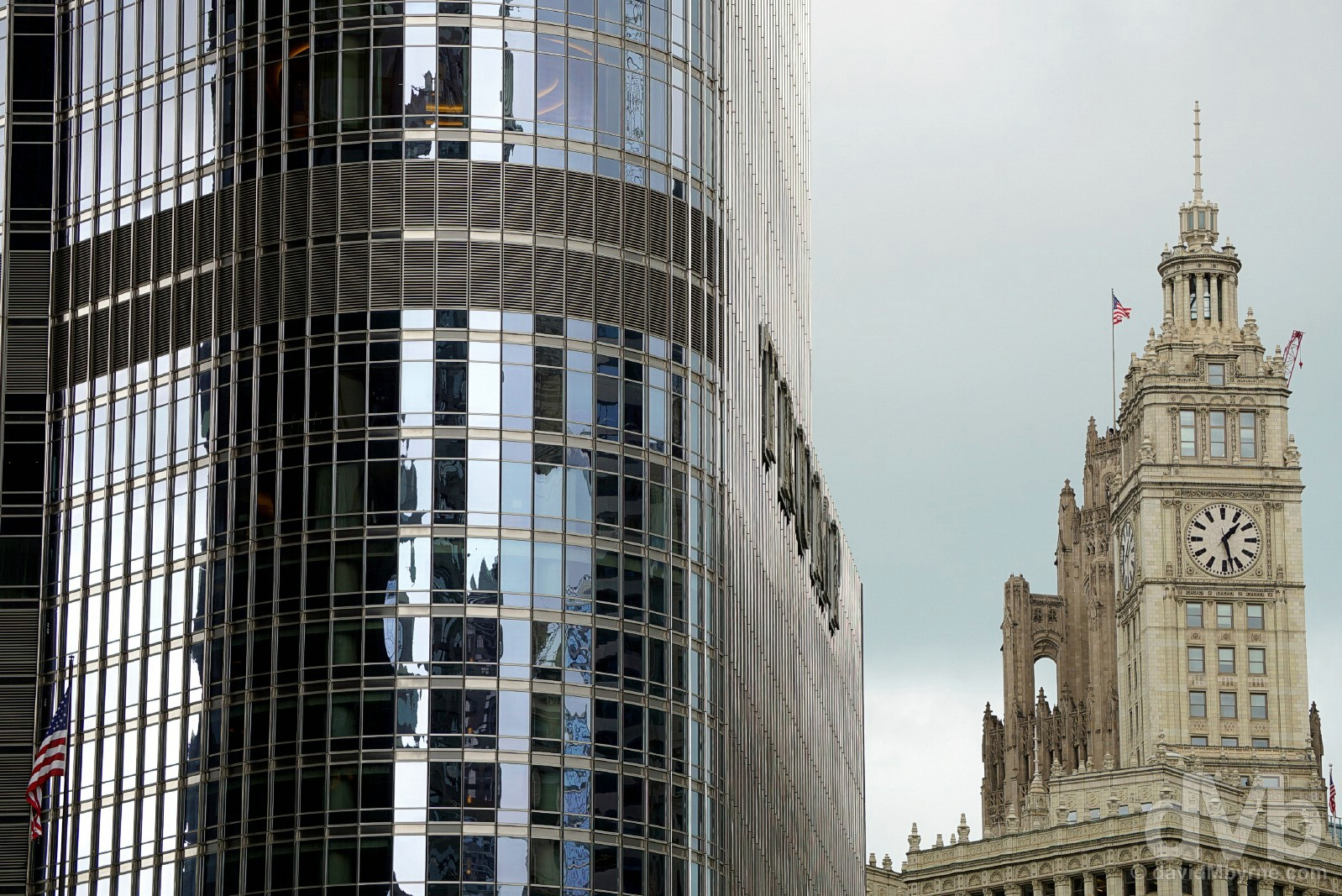 Trump International Hotel & the Wrigley Building in downtown Chicago, Illinois, USA. October 2, 2016.