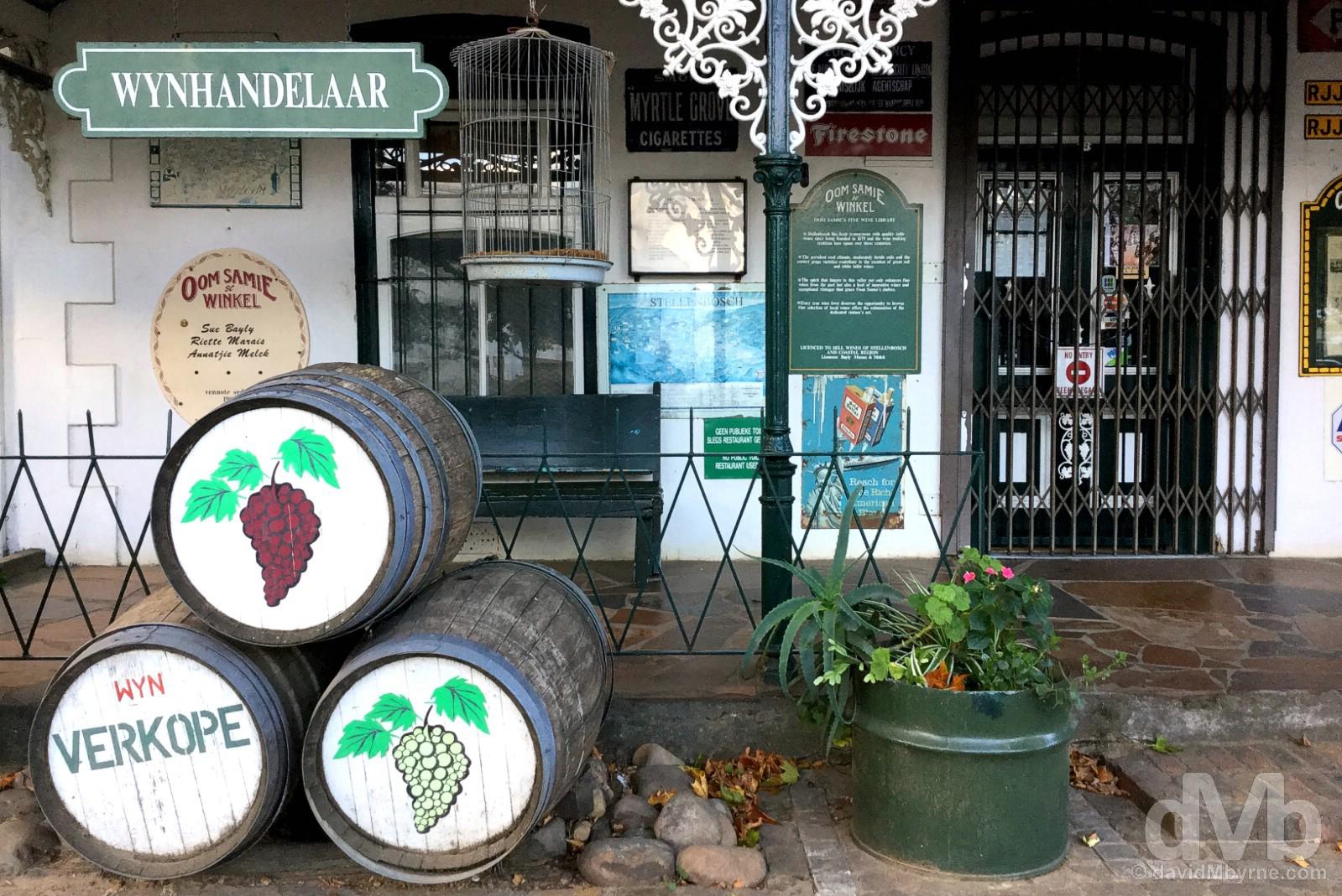 A wine shop on Dorp Street, Stellenbosch, Western Cape, South Africa. February 18, 2017.