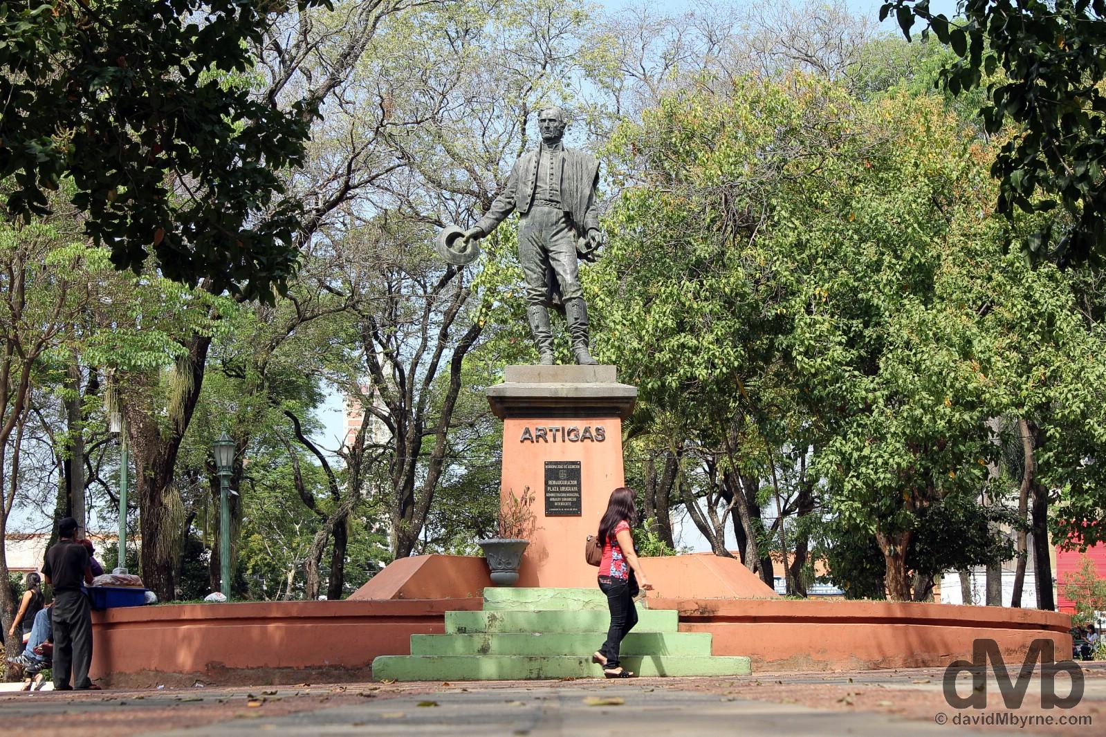 The Artigas statue Plaza Uruguaya, Asuncion, Paraguay. September 9, 2015.