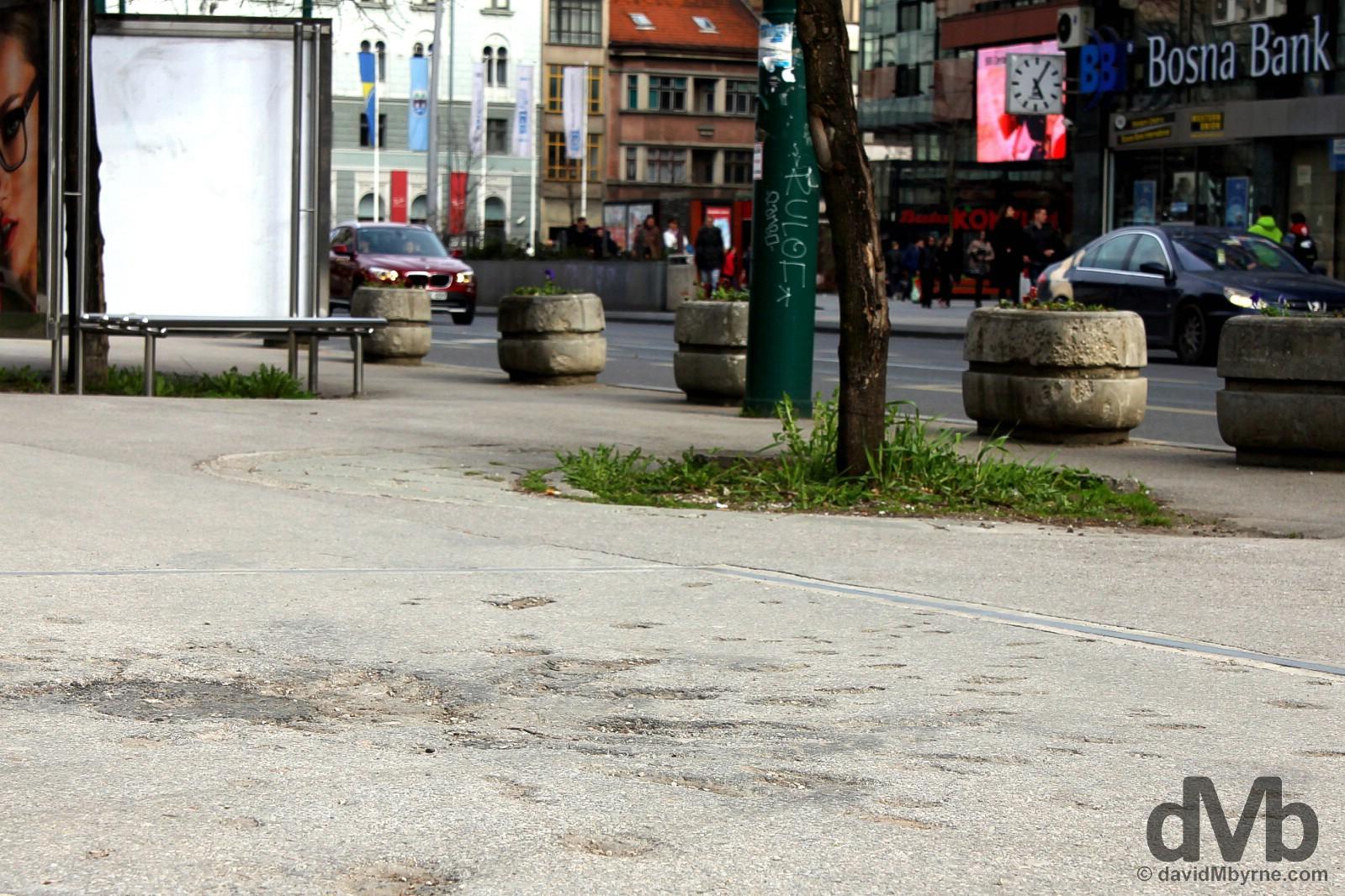Bosnian War scars on the streets of Sarajevo, Bosnia and Herzegovina. April 4, 2015.