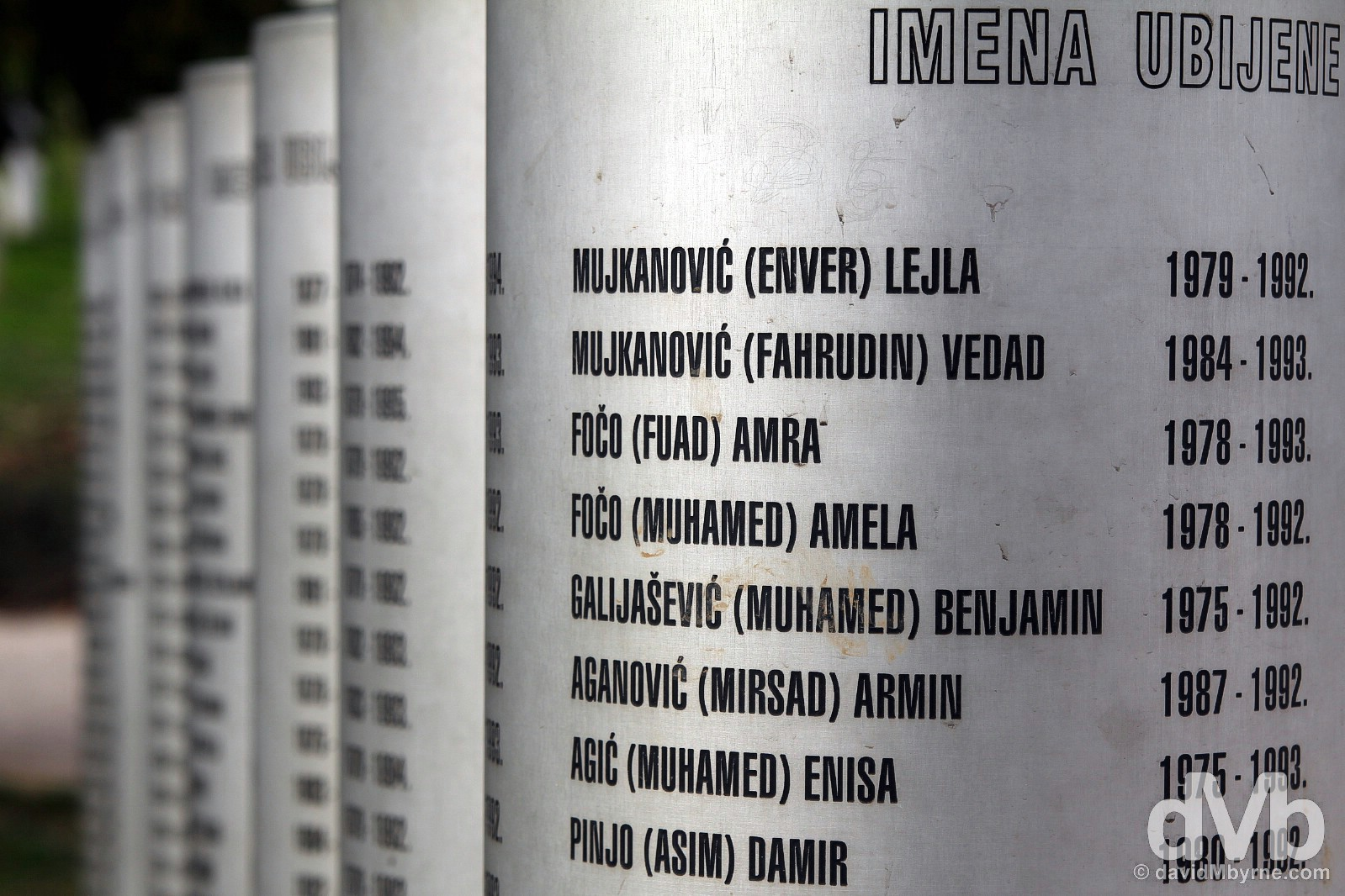 Bosnian War dead listed in Sarajevo, Bosnia and Herzegovina. April 4, 2015.