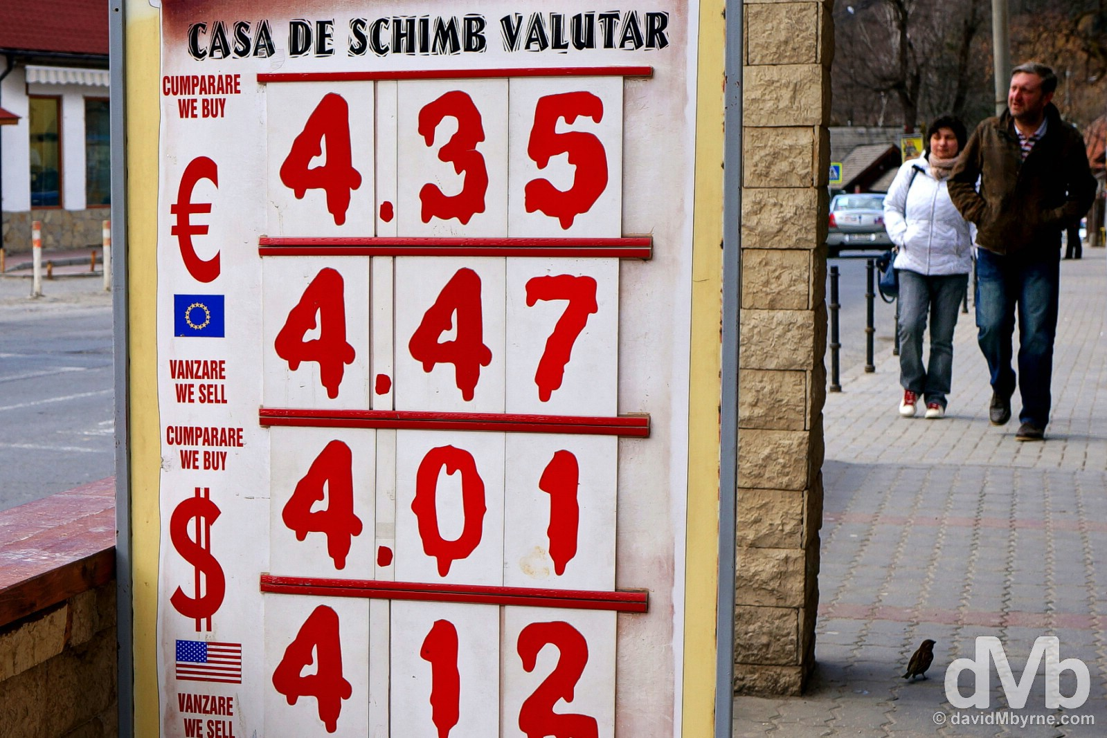 Dracula-inspired exchange rates on display in Bran, Romania. April 2, 2015.