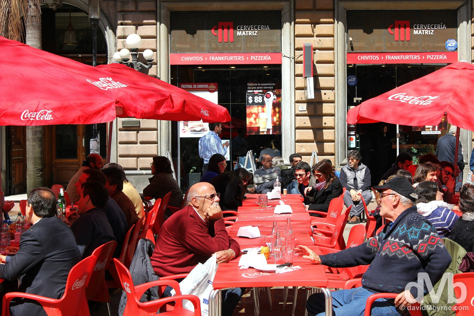 An outdoor cafe in Montevideo, Uruguay. September 18, 2015.