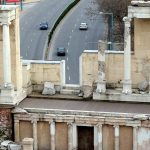 Cars on Vazrazhdane as seen from the ruins of the Roman theatre in Plovdiv, Bulgaria. March 29, 2015.