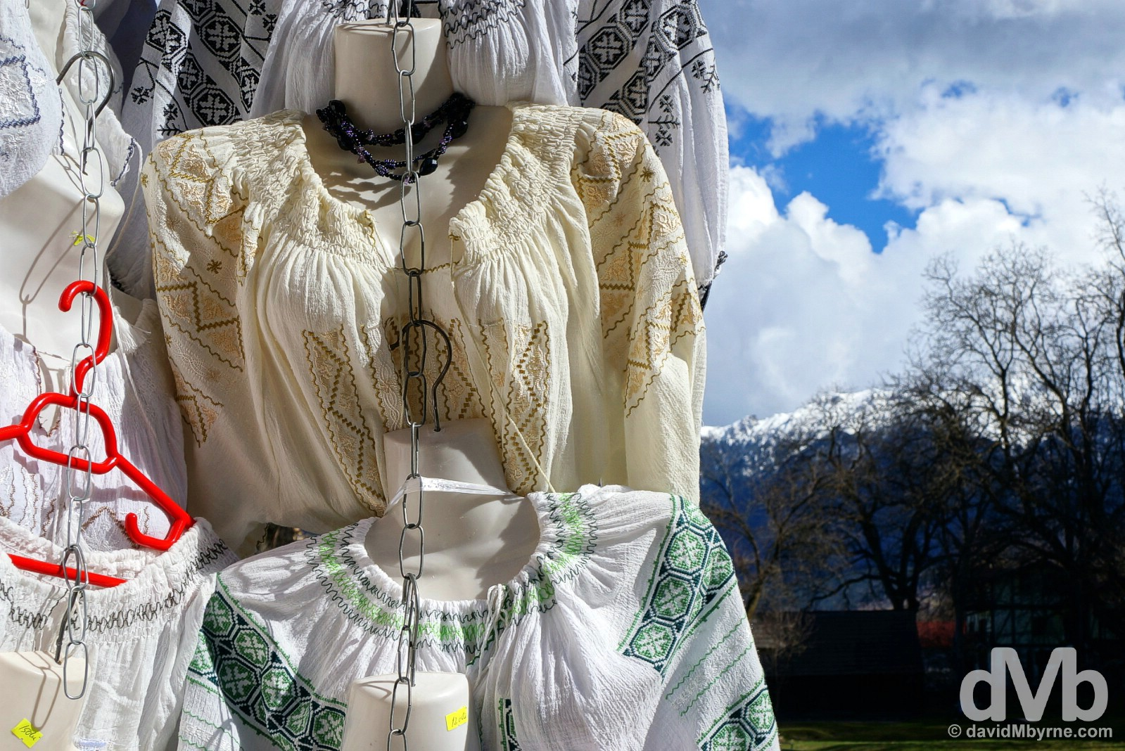 Traditional clothing for sale in Bran, Transylvania, Romania. April 2, 2015.